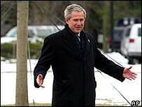 President Bush in snow   AP
