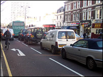 Traffic in Notting Hill Gate
