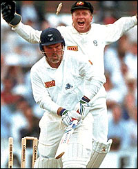Mike Gatting is bowled by Warne's first Ashes delivery as wicket-keeper Ian Healy celebrates