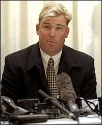 Warne was fined A$5,000 in 1998 for handing information to a bookmaker before a one-day match in 1994
