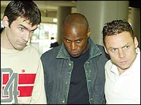 Keith Gillespie, Frank Sinclair and Paul Dickov