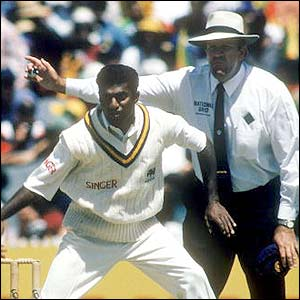 Muttiah Muralitharan makes his Test debut against Australia in 1992