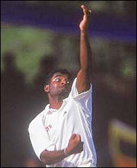 In 2001 Muralitharan takes his 400th Test wicket when he bowls Zimbabwe's Henry Olonga
