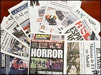 Spanish newspapers after the bombings