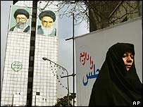 Tehran scene with billboards of Iranian leaders
