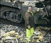 Train wreckage in Madrid's Atocha station