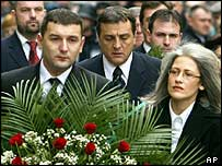 Supporters of Mr Djindjic at the cemetery, with former PM Zoran Zivkovic in the middle, frowning