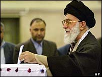 Ayatollah Ali Khamenei votes in parliamentary elections in Tehran