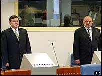 Mladen Markac (left) and Ivan Cermak in the courtroom of the UN war crimes tribunal in The Hague