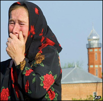 Chechen woman grieving