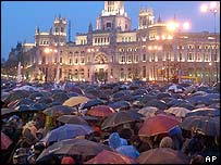 Crowds fill the Cibeles square in central Madrid