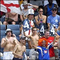 Sunburn is only a few hours away for these rash England fans