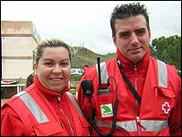Red Cross volunteers Maria Reina and Sergio Samper