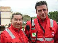 Red Cross volunteers Maria Reina and Sergio Samper
