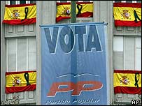 A ruling Popular Party election banner