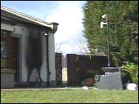 The back door was damaged in the fire