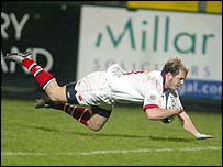 Scott Young scored one of Ulster's tries