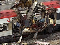 A damaged train car in Atocha train station in Madrid, Thursday 11 March