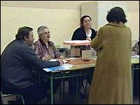 Voters at a Spanish polling station
