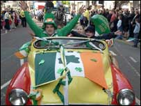 Revellers at St Patrick's Day parade