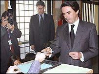 Prime Minister Jose Maria Aznar votes on Sunday