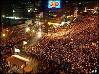 Candlelit vigil in Seoul on Sunday