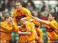 Motherwell celebrate Derek Adams' opening goal