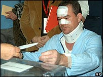 Cayetano Abad, injured in the Madrid attacks, casts his vote