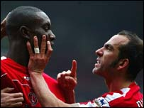 Carlton Cole with Paolo Di Canio
