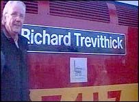 Pete Waterman with the Richard Trevithick freight engine