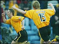Jamie McAllister celebrates his goal against Hibs