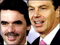 Spanish Prime Minister Jose Maria Aznar and British Prime Minister Tony Blair