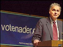 Consumer advocate Ralph Nader, during the 2000 election campaign