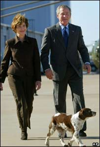 Spot pictured with President Bush and his wife Laura