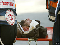 Injured man on stretcher