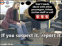 Police poster appealing for vigilance on the London Underground