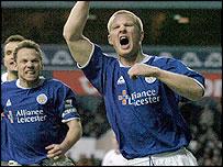Thatcher celebrates Leicester goal