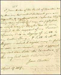 Jane Austen's will (National Archives)