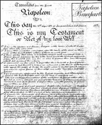 Napoleon's will (National Archives)