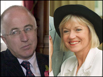 Foreign Office Minister Denis MacShane and newsreader Carol Barnes