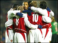 Arsenal's players celebrate a goal
