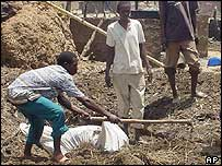 Victim being buried