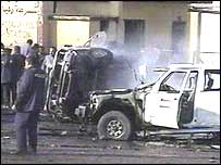 The scene outside the police station after the bombing