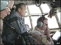 US Defence Secretary Donald Rumsfeld flying into Baghdad by helicopter on Monday