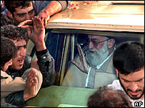 Ayatollah Khamenei is mobbed by supporters in his car