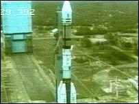 A rocket on its launch pad at Sriharikota