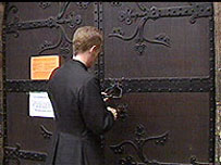 The doors of Bangor Cathedral being locked when the electoral college met in March