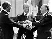 From left: Anwar Sadat, Jimmy Carter and Menachem Begin celebrate an Egypt-Israel peace deal in 1979