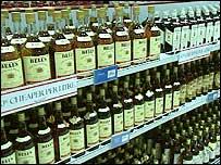 Whiskey on supermarket shelf