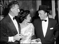 With husband, Stewart Granger and friend, Frank Sinatra